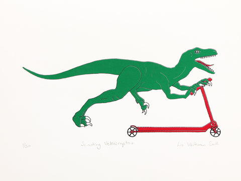 dinosaur on a scooter