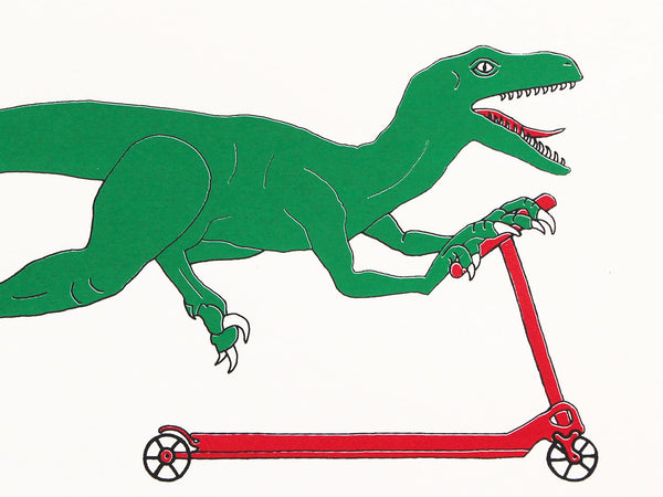 Green dinosaur on a scooter