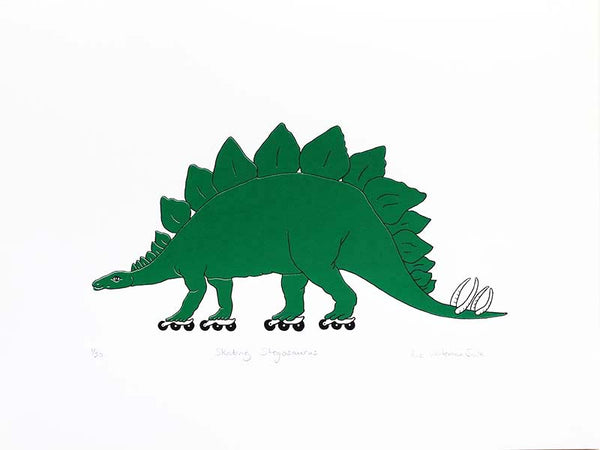 green stegosaurus on roller skates