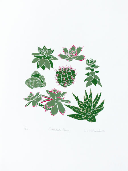 Group of succulents and cacti limited edition screen print, 30x40 cm