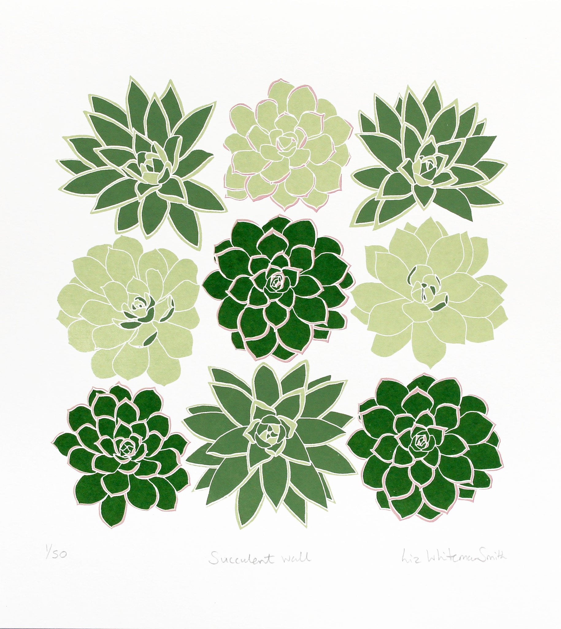 hand pulled limited edition of 50, screen print of a group of nine succulents, shades of green, cacti