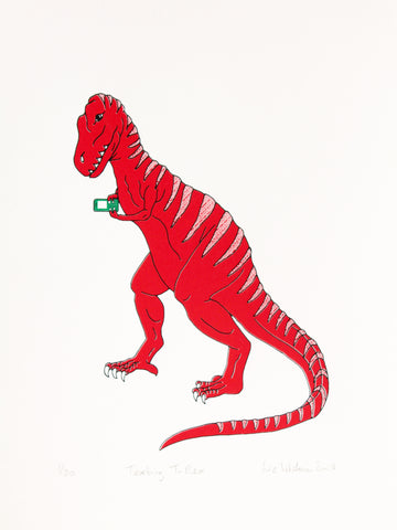 T-Rex dinosaur texting on his phone