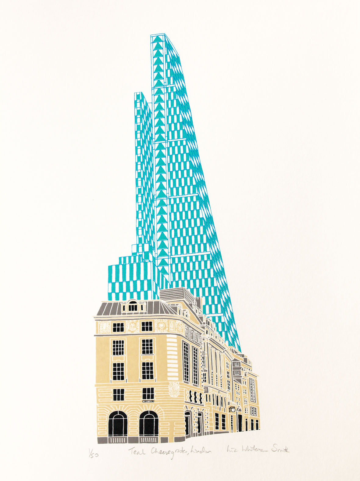 Teal Cheesegrater building in London