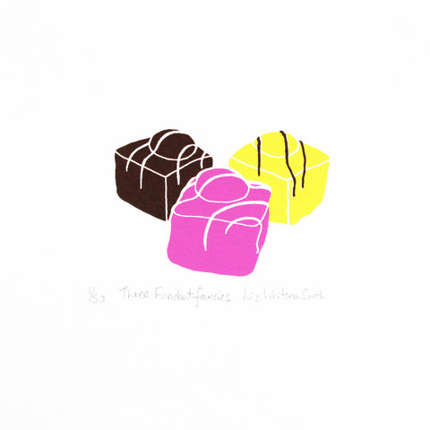 Three delicate little cakes covered in pink, lemon and chocolate icing, 3 colour screen print
