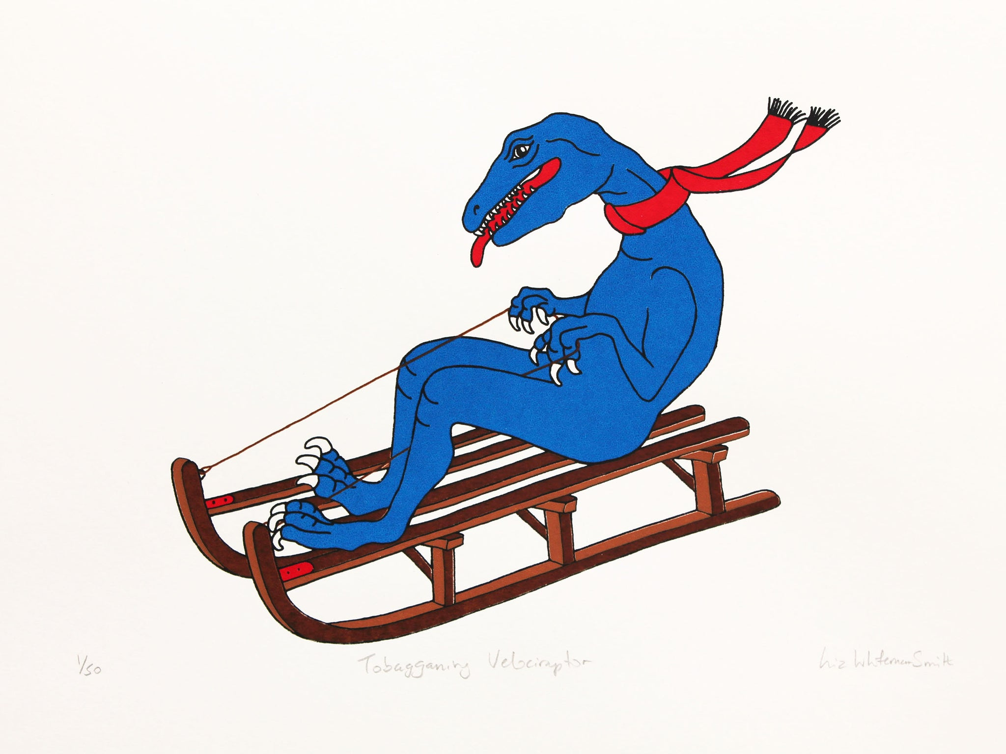 Blue velociraptor with a red scarf tobogganing