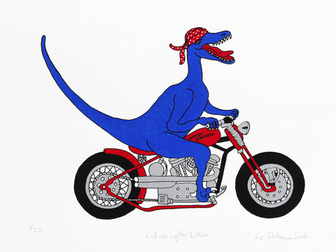 Blue velociraptor riding a red Harley Davidson wearing a red spotted bandana 4 colour screen print, 40x30 cm
