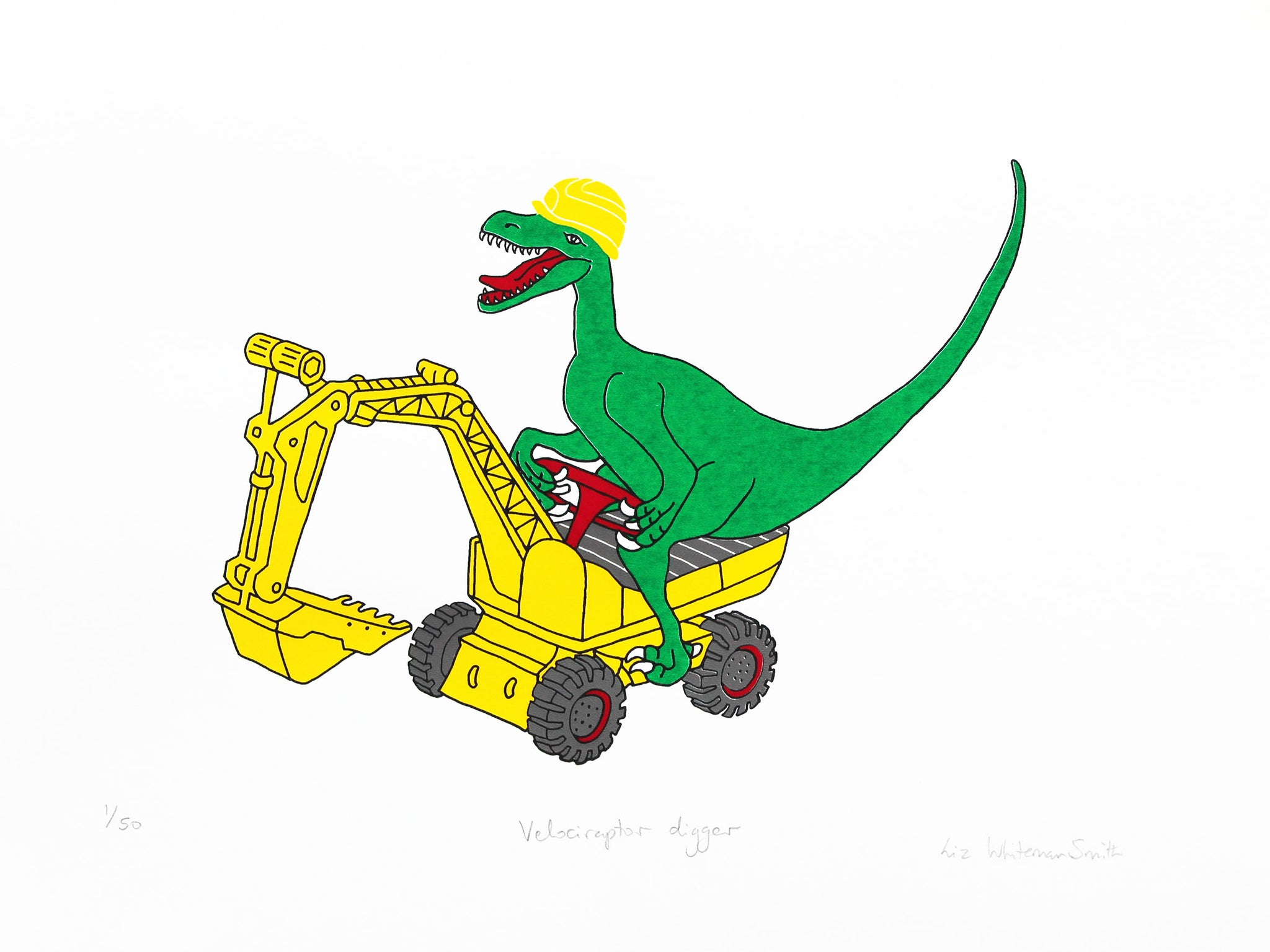 Velociraptor on yellow digger 5 colour screen print on Heritage white 315 gsm, 40x30cm Limited edition of 50