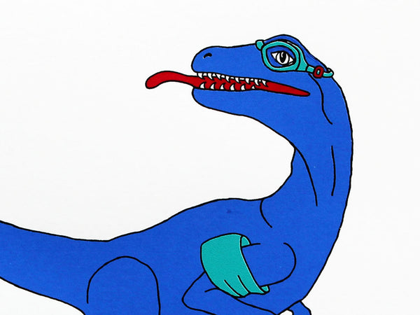 Blue Velociraptor swimmer with turquoise armbands, flippers and goggles, 4 colour original hand pulled screen print on 40 x 30 cm Heritage white 315gsm, limited edition of 50.