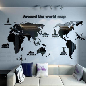 Creative art -3d World map black mirror