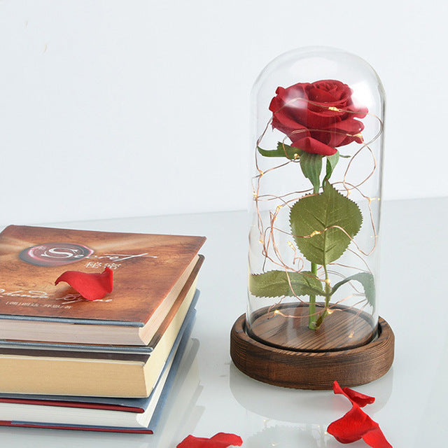 Lighter rose case (glass & wood) - Beauty and the Beast design