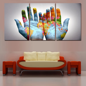 World map painting on hands