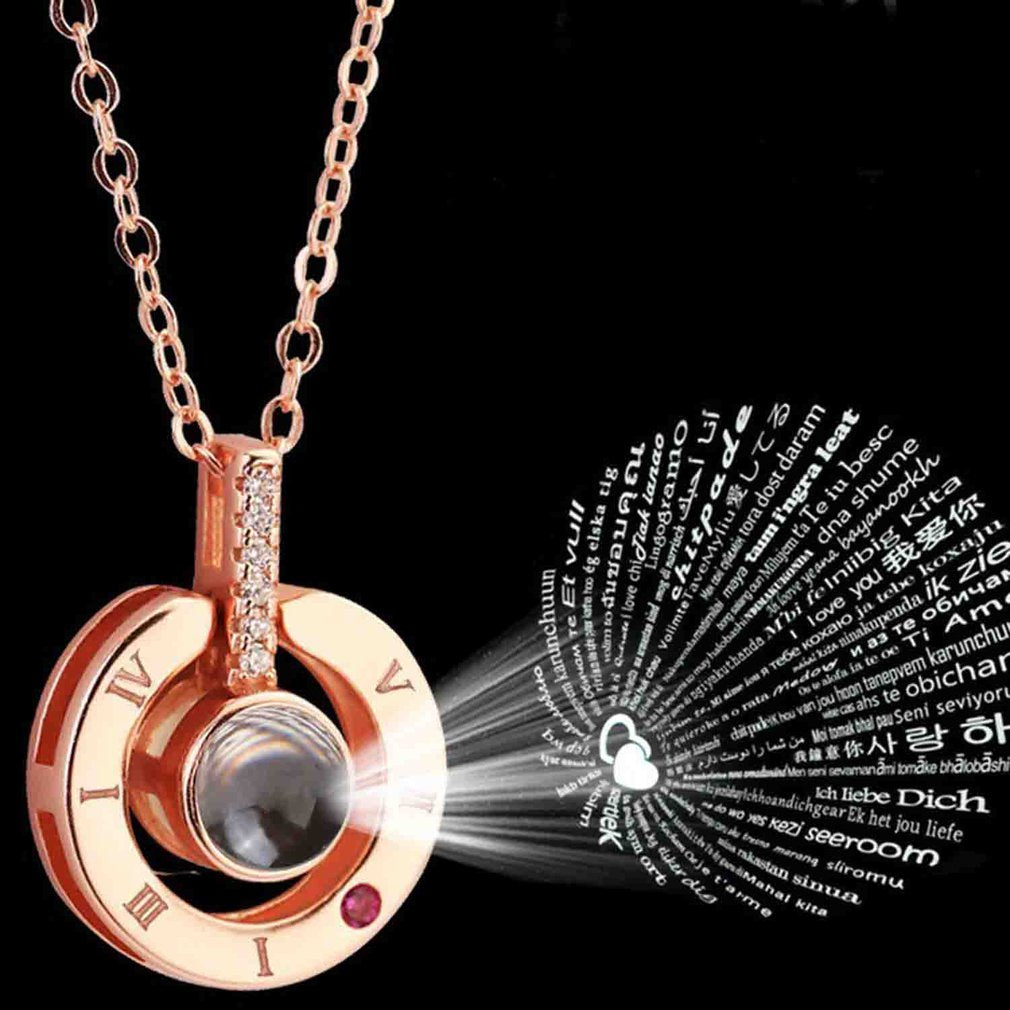 Rose Gold Silver 100 Languages I Love YouRomantic Valentine's day Necklace Dropshipping 2019