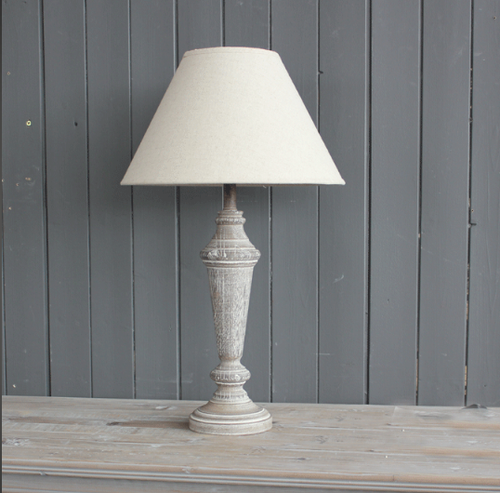 WOODEN BASE & LINEN SHADE