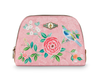 Medium Pink Triangle Good Morning Floral Cosmetic Bag