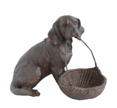 Resin Dog with Basket by Bloomingville