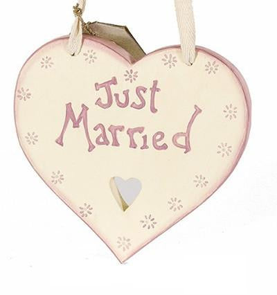 Just Married Wooden Heart