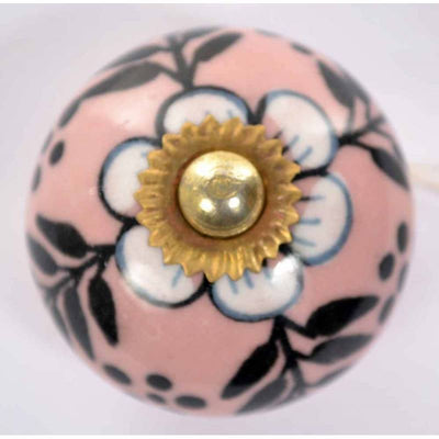 Pink & Black Ceramic Door Knob