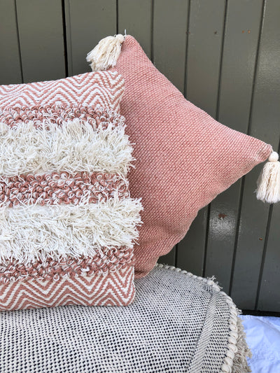Crocheted Tassel Rose Cushion