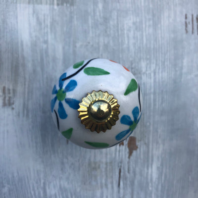 Floral Design Ceramic Door Knob