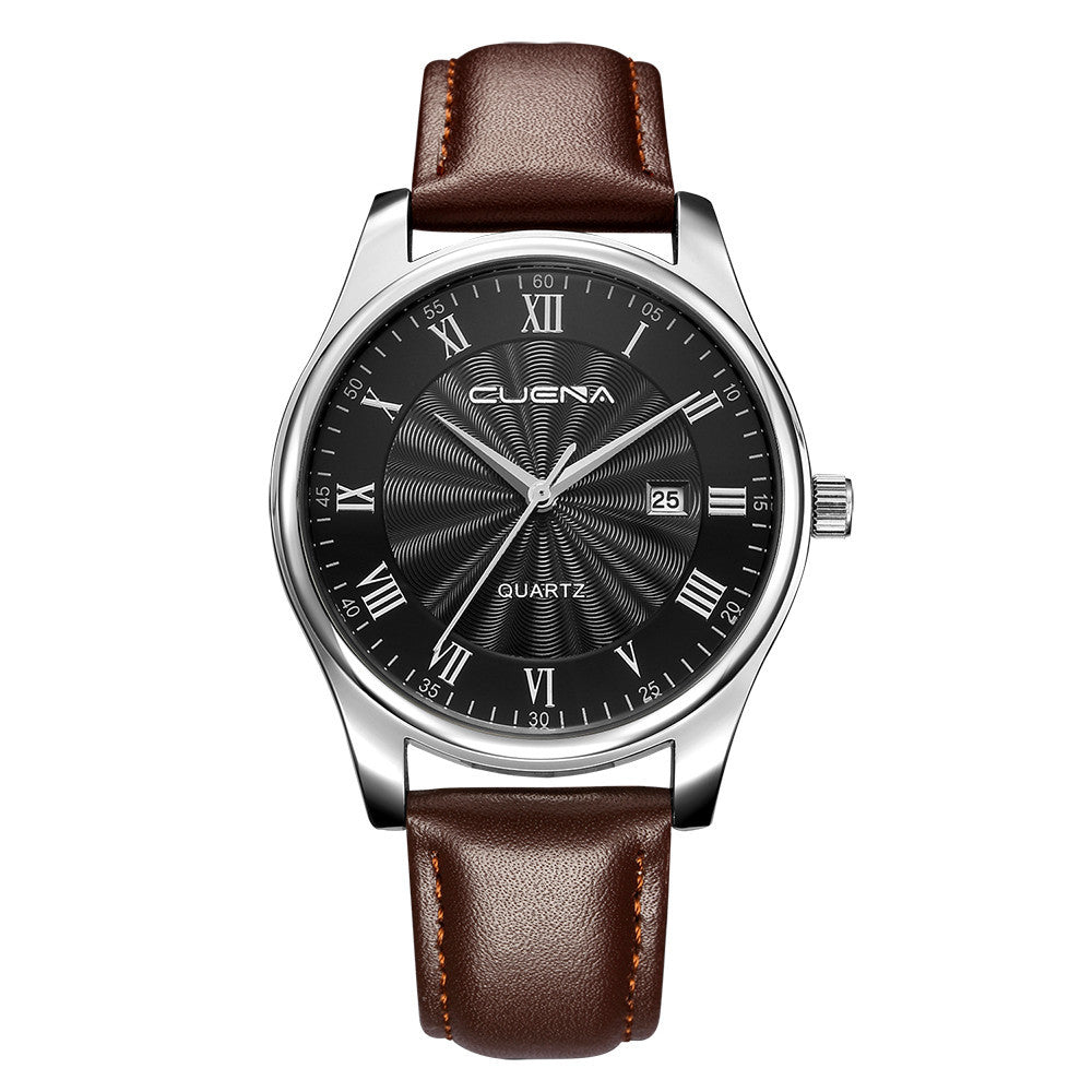 CUENA Men Casual Checkers Faux Leather Quartz Analog Wrist Watch With Calendar