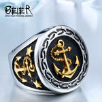 BEIER Top Quality Stainless Steel Punk Vintage white/gold colour Anchor Biker Ring For Man`s Jewerly free shipping BR8-388
