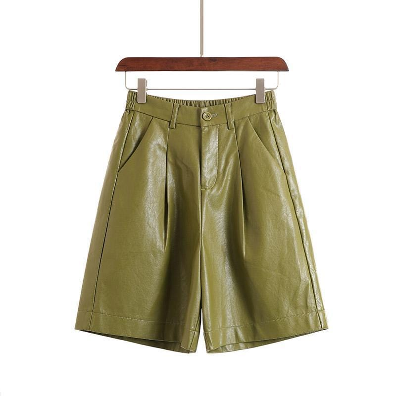 Bermuda short en simili cuir PU Short Sentence Love