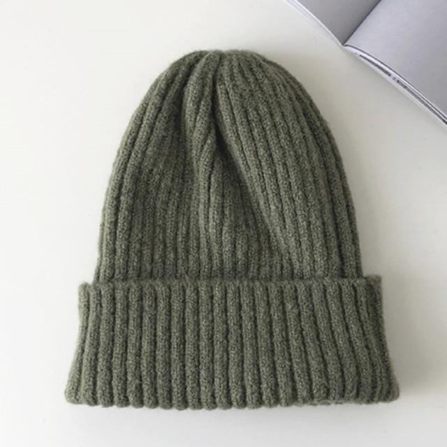 Bonnet basic simple Chapeau vetement tendance femme Sentence Love Army Green / 54cm-58cm
