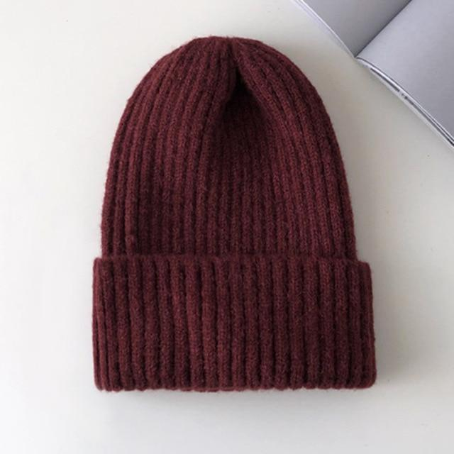 Bonnet basic simple Chapeau vetement tendance femme Sentence Love Wine Red / 54cm-58cm