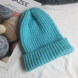 Bonnet basic simple Chapeau vetement tendance femme Sentence Love Lake Blue / 54cm-58cm