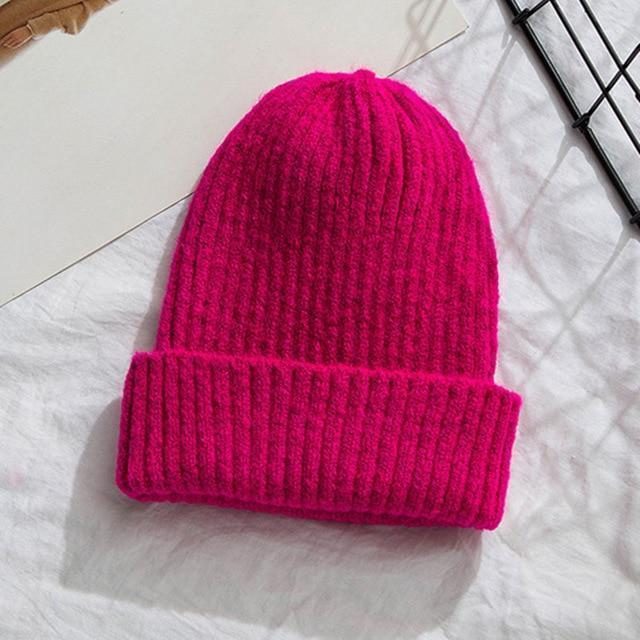 Bonnet basic simple Chapeau vetement tendance femme Sentence Love Rose Red / 54cm-58cm