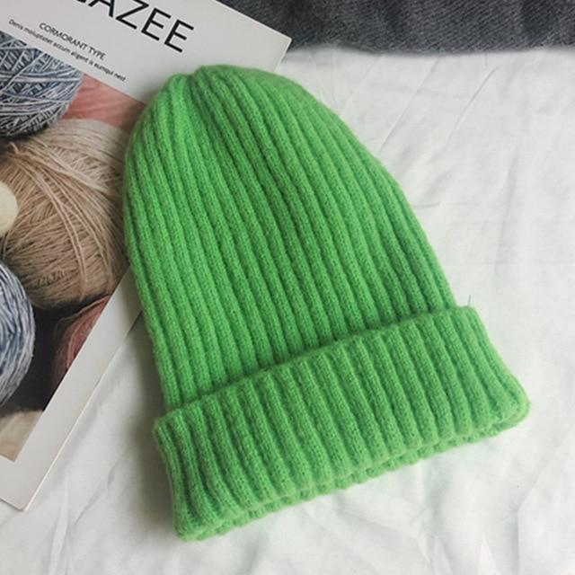 Bonnet basic simple Chapeau vetement tendance femme Sentence Love Fluorescent green / 54cm-58cm