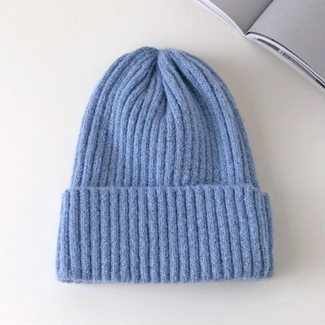 Bonnet basic simple Chapeau vetement tendance femme Sentence Love Light Blue / 54cm-58cm