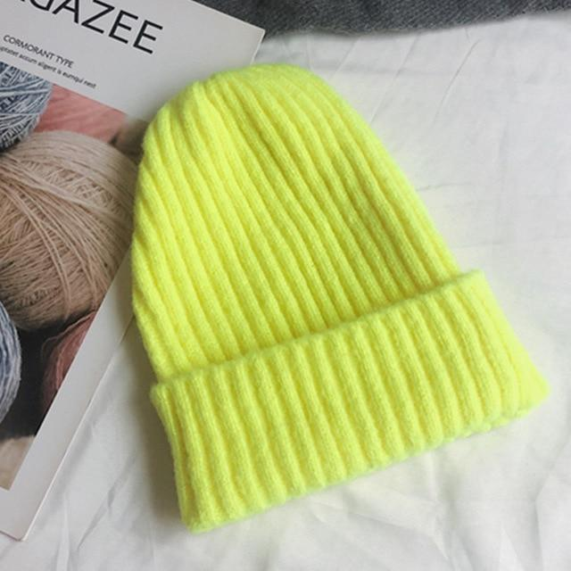 Bonnet basic simple Chapeau vetement tendance femme Sentence Love Fluorescent yellow / 54cm-58cm