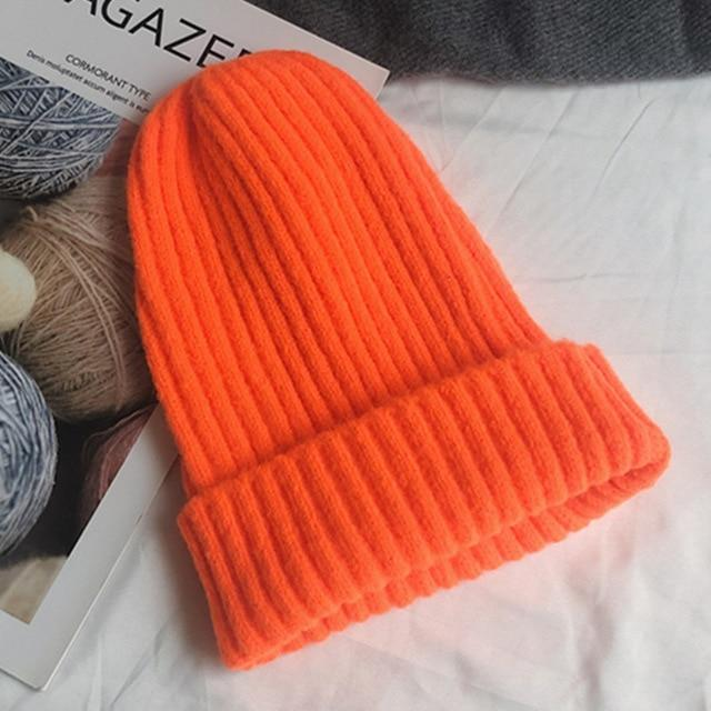 Bonnet basic simple Chapeau vetement tendance femme Sentence Love Fluorescent orange / 54cm-58cm