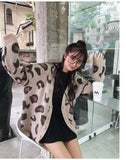 Cardigan leopard loose oversize Gilet vetement tendance femme Sentence Love White-Black / One Size