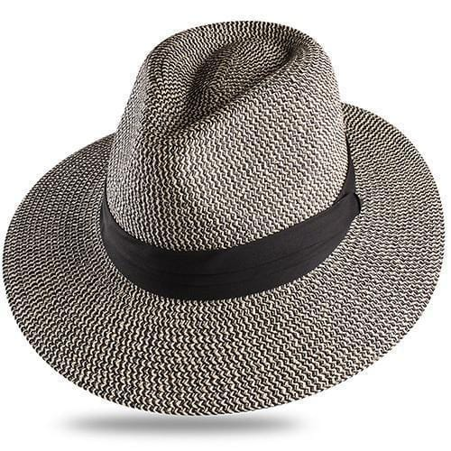 Chapeau en paille mixte basic Chapeau vetement tendance femme Sentence Love Black and Beige / M