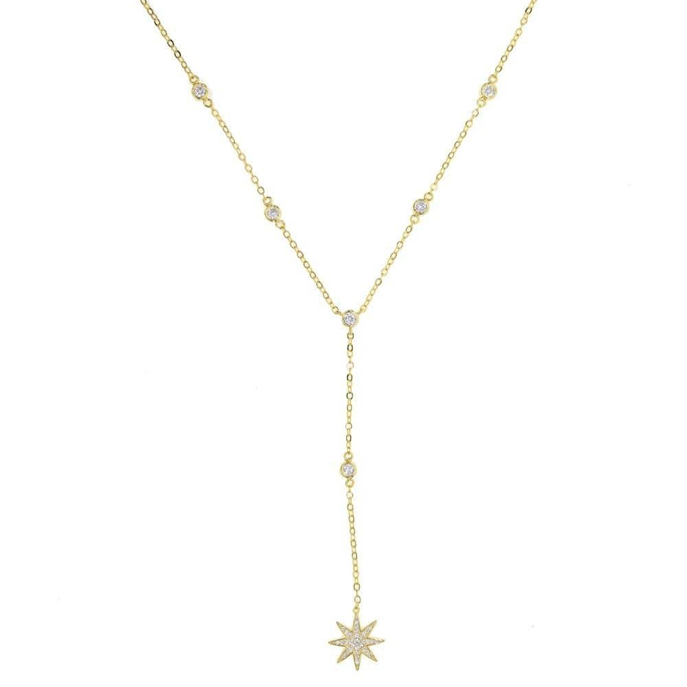 Collier long étoile Bijoux vetement tendance femme Sentence Love Gold-color