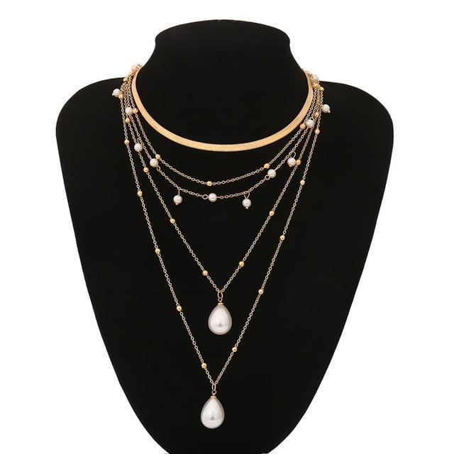 Collier multi layer avec perle Bijoux vetement tendance femme Sentence Love Necklace