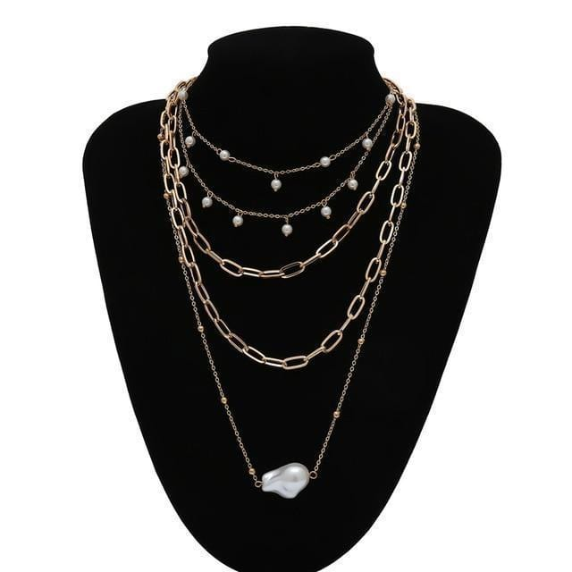 Collier multi layer avec perle Bijoux vetement tendance femme Sentence Love Necklace 2