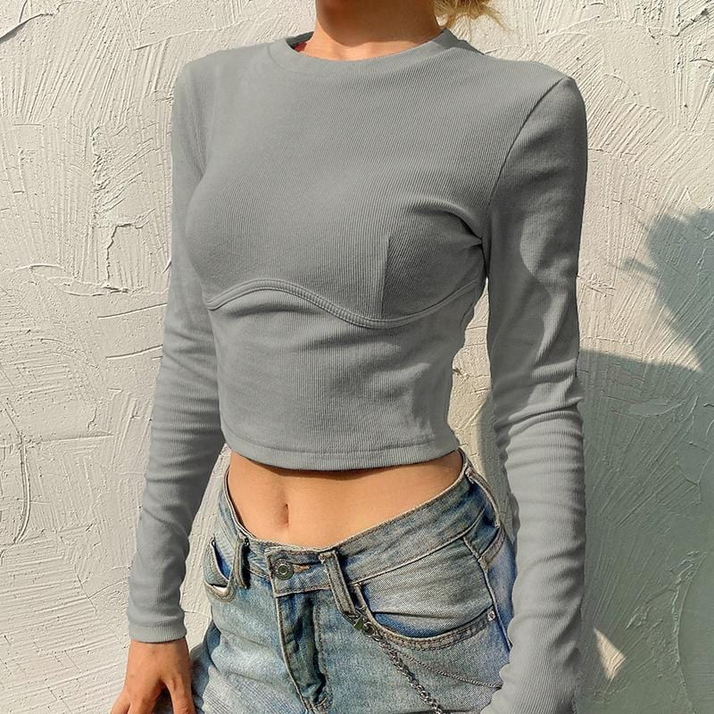 Crop top à manches longues basic Haut Sentence Love