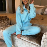 Ensemble cozy sweat court et jogging Ensemble vetement tendance femme Sentence Love Blue / S