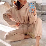 Ensemble cozy sweat court et jogging Ensemble vetement tendance femme Sentence Love Khaki / M