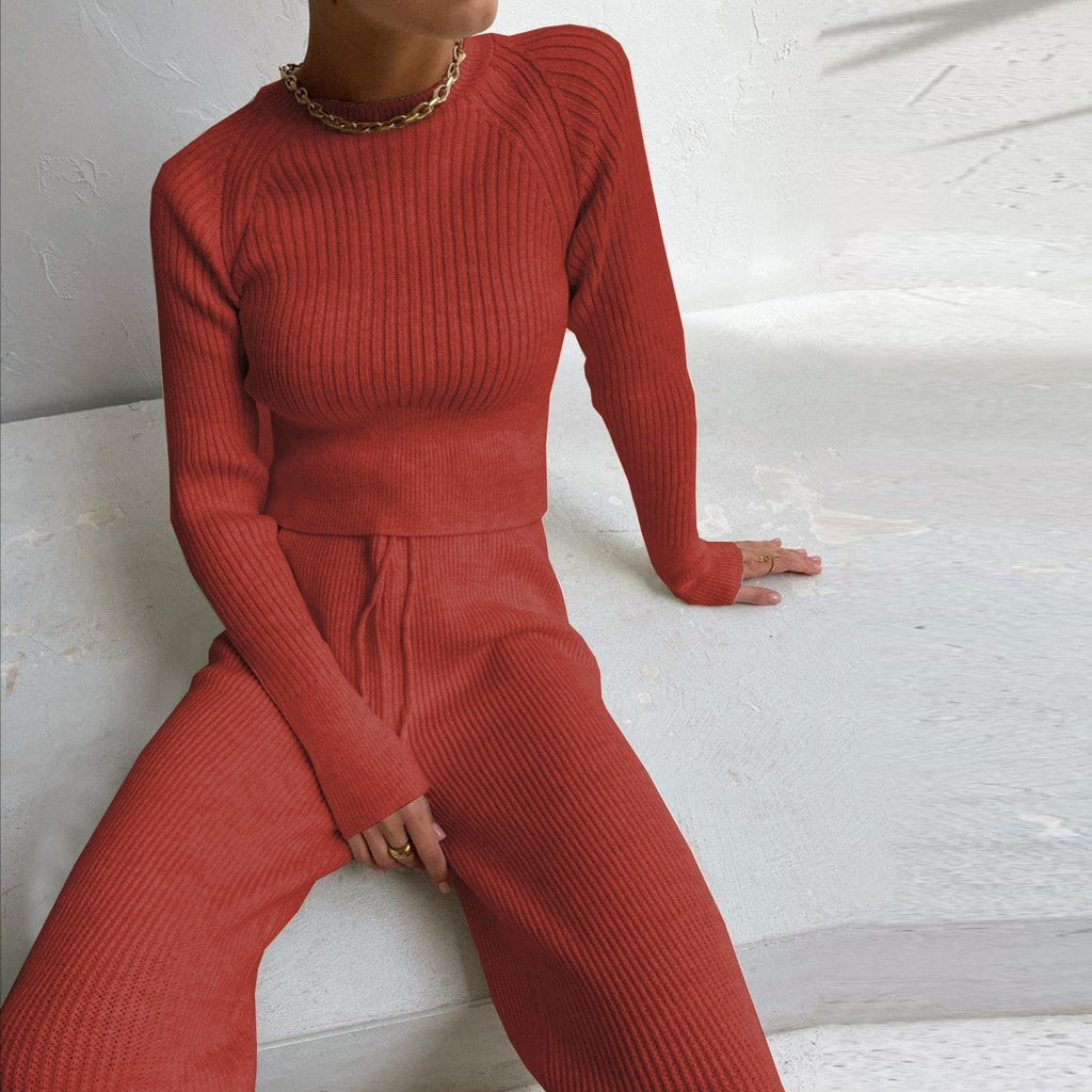 Ensemble pull pantalon basic Ensemble vetement tendance femme Sentence Love Red / S