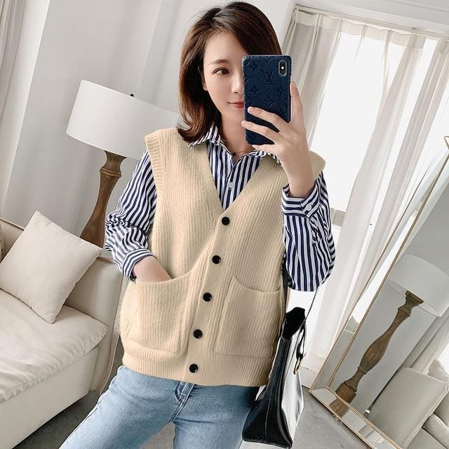 Gilet sans manches basic vintage Gilet vetement tendance femme Sentence Love light khaki / One Size