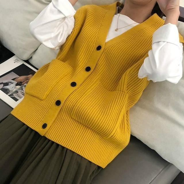 Gilet sans manches basic vintage Gilet vetement tendance femme Sentence Love yellow / One Size