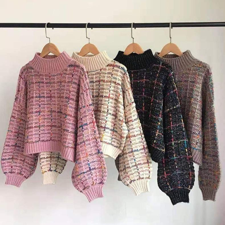 Gros pull court plaid manches larges Pull vetement tendance femme Sentence Love
