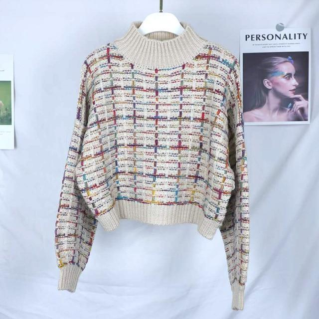 Gros pull court plaid manches larges Pull vetement tendance femme Sentence Love apricot / One Size