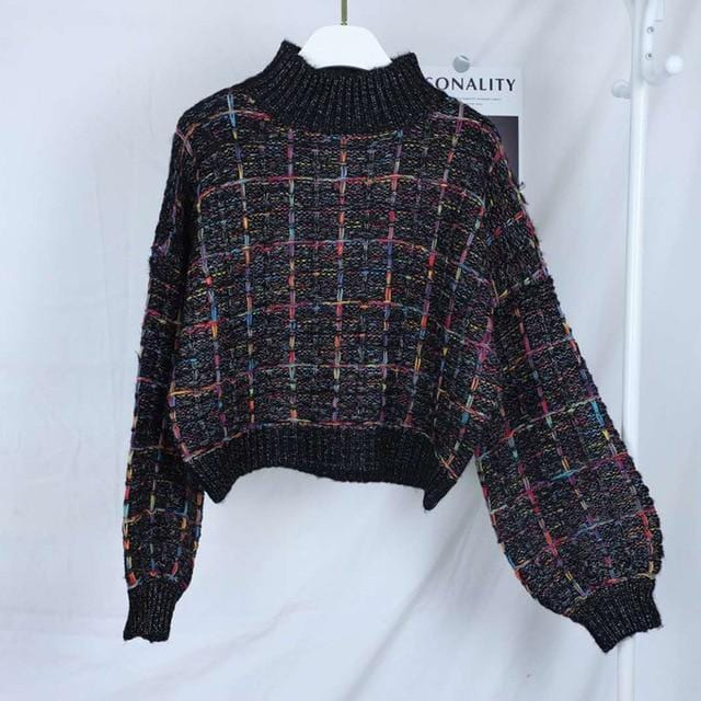 Gros pull court plaid manches larges Pull vetement tendance femme Sentence Love black / One Size