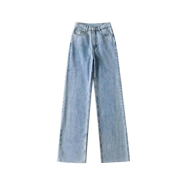 Jean large wide loose baggy taille haute flare Pantalon vetement tendance femme Sentence Love light blue / L