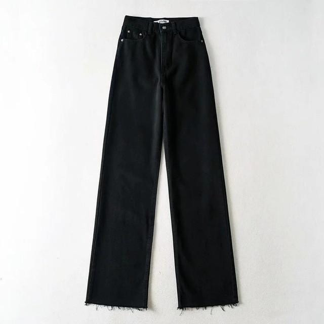 Jeans wide leg large en jean Pantalon vetement tendance femme Sentence Love black / L